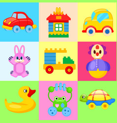 funny colorful toys for little kids vector image