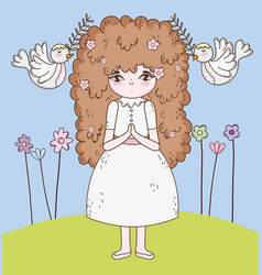 girl communion with branches leaves and doves vector image