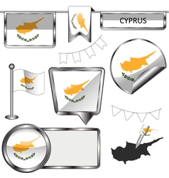 Glossy icons with Cypriot flag vector image