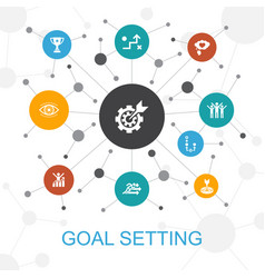 goal setting trendy web concept with icons vector image