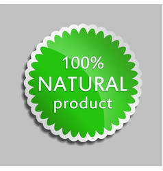Green sticker natural product vector