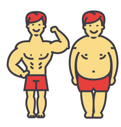 guy losing weight fat guy before and after diet vector image