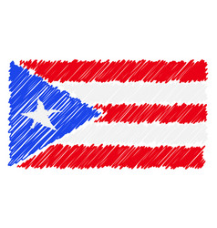 Hand drawn national flag of puerto rico isolated vector