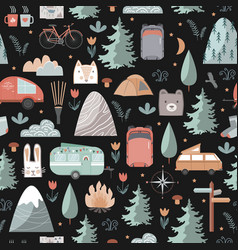 Hand drawn night seamless pattern with summer vector