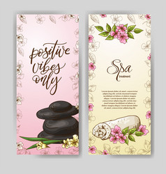 hand drawn spa banners in sketch style design for vector image
