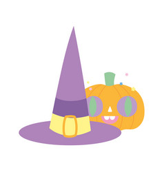 happy halloween celebration pumpkin with witch hat vector image