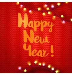Happy New year on kniting with lights vector image