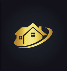 house business realty gold logo vector image