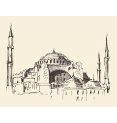 Istanbul Turkey Hagia Sophia Engraved Sketch vector image