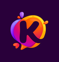 K letter at colorful speech bubble and heart vector