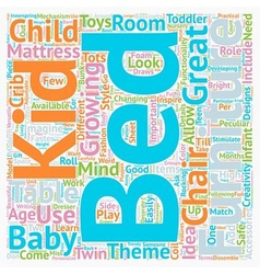 Kids bedroom furniture text background wordcloud vector