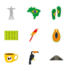 Landmarks of brazil icon set flat style vector