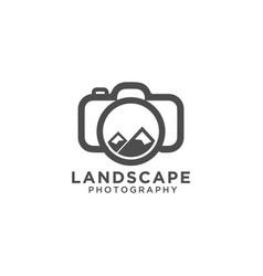 landscape photography logo design template vector image