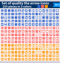 Large set white icons pointing in three colors vector
