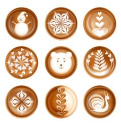 Latte art images realistic set vector