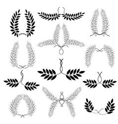 Laurel wreath tattoo set Black ornaments twelve vector