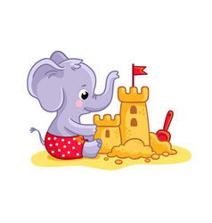 Little elephant plays on beach in sand a vector
