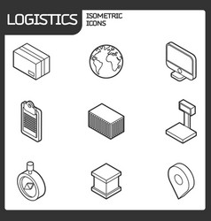 logistics outline isometric icons vector image