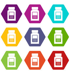 Medicine bottle icon set color hexahedron vector