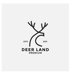 Minimalist deer line modern logo design vector