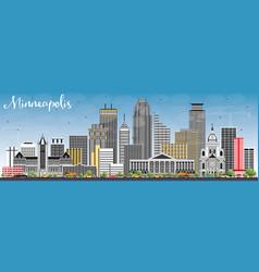 Minneapolis minnesota usa skyline with color vector