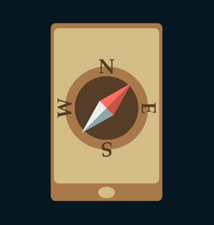 Mobile phone with compass on screen - gps concept vector