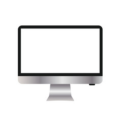 Monitor with a blank screen with a white vector