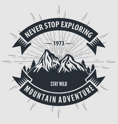 mountain adventure vintage label badge logo vector image