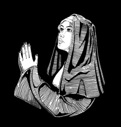 Nun is praying vector