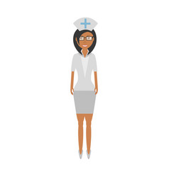 Nurse female with glasses uniform hat cross vector