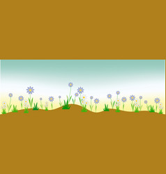 panoramic background of wildflowers vector image