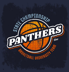 panthers basketball emblem for sport team vector image