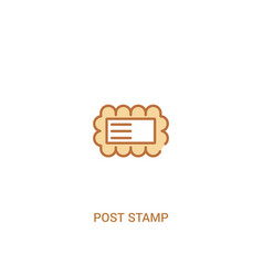 Post stamp concept 2 colored icon simple line vector