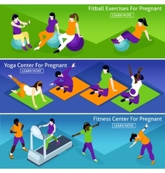 Pregnant Women Fitness Banners Set vector
