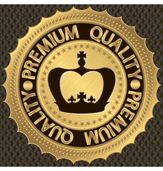 Premium Quality golden label with crown vector image