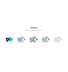 puzzle icon in different style two colored vector image