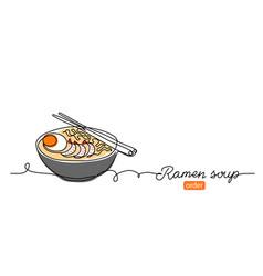 ramen soup noodles banner background one vector image