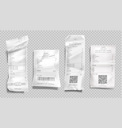 Receipt invoice paper bill cash purchase set vector