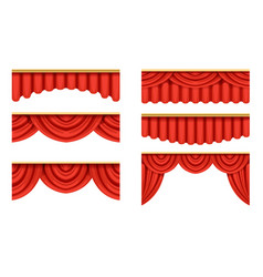 Red curtains collection theater stage design vector