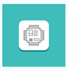 Round button for chip cpu microchip processor vector