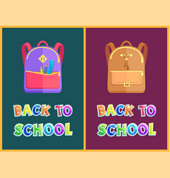 Rucksacks and stationery on back to school poster vector