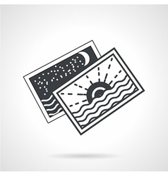 Seascape cards black line icon vector