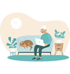 senior woman at home with laptop in hands vector image