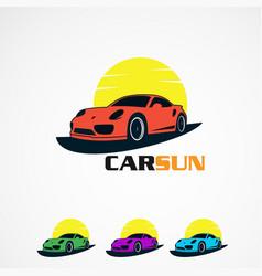 Set car sun with simple concept logo icon element vector