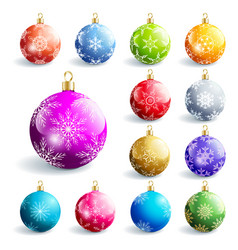 set colorful glowing christmas ball vector image