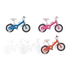Set of kids bicycles vector