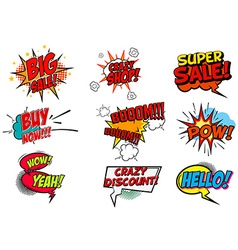 Set of pop art style phrases vector image