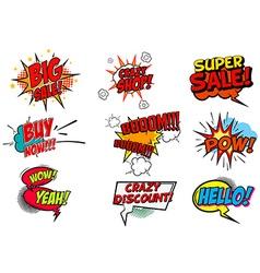 Set pop art style phrases vector
