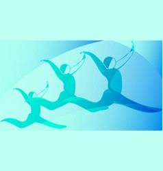 Silhouettes dancers in a jump vector