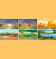 Six different scenes with animals vector